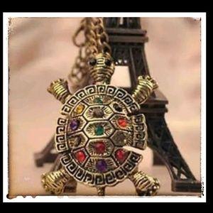 Sea Turtle Necklace Vintage Gold Tones& Rhinestone